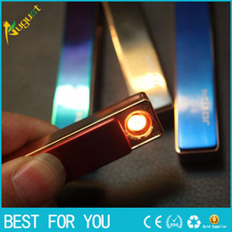 Wholesale Usb charging state in ultra thin windproof metal usb lighters electronic cigarette lighter for men and women fashion gift