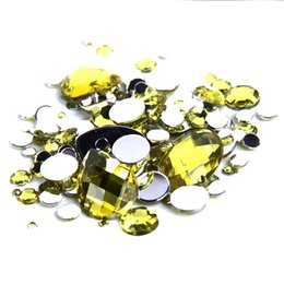 New Arrival 1000pcs Acrylic Rhinestones Mixed Sizes Light Yellow Round Loose Non Hotfix Flatback Stones Beads For Jewelry Making