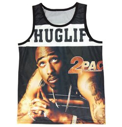 Wholesale New men s summer tank tops D print Tupac Pac Biggie Smalls basketball vest jersey sleeveless tee shirts Drop Shipping
