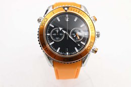 2016 New Arrival Auto Watch Men Orange Case Black Dial Leather Band Sea Master watch free shipping