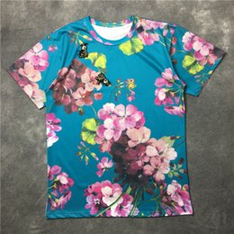 Wholesale 2016 luxury floral t shirt women embroidery bees flower tshirts woman tops