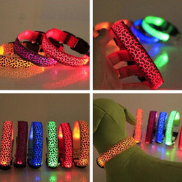 Wholesale Nylon Pet LED Dog Collar Night Safety LED Flashing Glow LED Pet Supplies Dog Cat Collar leopard print Designer Products for Dogs Collars