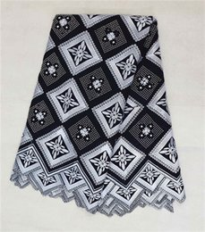 Wholesale High quality white and black lattice pattern swiss voile lace high cotton fabric yards pc African lace fabric for clothing BC118