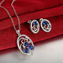 Wholesale High grade Sculpture Round silver necklace earring jewelry sets brand new sterling silver blue gemstone set online for sale GTFS136A