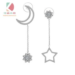 lingdong fashion brand star and moon Earrings Pure 925-Sterling-Silver Plate AAA Zircon mosaic Earrings For Women Accessories Free shipping