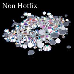 SS12-SS50 Non Hotfix Crystal Rhinestones Glitter White Crystal AB Flatback Glue On Strass Diamonds Many Sizes For 3D Nails Art Decorations