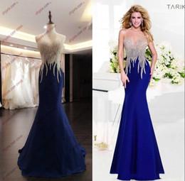 Wholesale Real Image Tarik Ediz Sparkly Crystal Evening Dresses Cheap Uk Sexy Sheer Jewel Mermaid Long Prom Dresses With Open Back Design