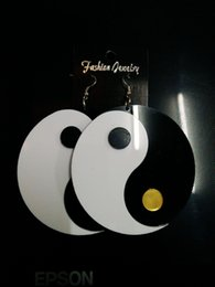 Fashion Night Club Women Jewelry Accessories Black White Acrylic Big Punk Earrings Hip Hop Wholesale Hot