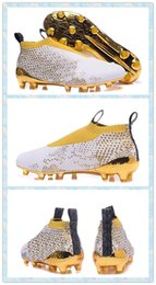 Wholesale 2016 Men Training Sneakers Men s X Ace PureControl Stellar Pack FG White Gold Soccer boots Shoes Football Boots Running Shoes