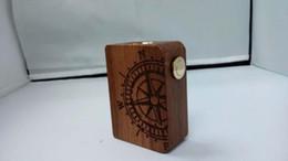 2016 mods boîte en bois Wooden Mini Box Vaporisateur avec batterie 18350 Vape mod gravé crâne boussole conception 510 mécanique Ecigarette Mini boîte mod bois promotion mods boîte en bois