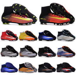 Wholesale Kids Soccer Cleats CR7 Cristiano Ronaldo Mens Mercurial Superfly FG TF Football Boots Women High Top Soccer Sports Shoes Youth Turf Pink