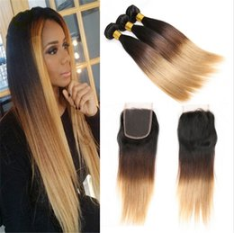 New Arrival Brazilian Ombre Straight Hair Bundles With Lace Closure Dark Roots #1B 4 27 Hair Weaves WithLace Closure For Black Woman