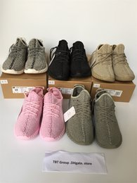 Wholesale Double box Boost Kanye West running shoes Boost Top Quality Moonrock Oxford Tan Pirate Black Running shoes snakers green suede patch