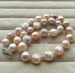Charming natural 12-13mm baroque multicolor pearl necklace 18inch 925 silver clasp