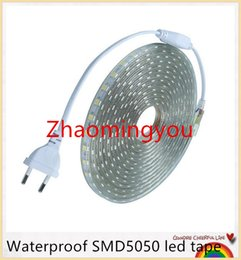 YON Waterproof SMD5050 led tape AC220V flexible led strip 60 leds Meter outdoor garden lighting with EU plug