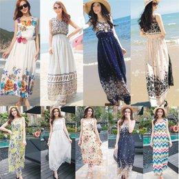 Wholesale Print dresses for womens summer beach street chiffon bohemian maxi dresses designs women clothing bulk price