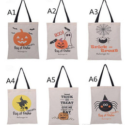 Wholesale 2016 Types Halloween Tote Bags with Black Handle Pumpkin Christmas Shopping Bags Festival Gifts Bag Halloween Canvas Bag