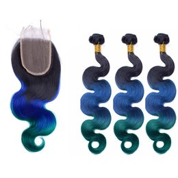 Brazilian Ombre Hair With Closure 4Pcs Lot #1B Blue Teal Two Tone Ombre Brazilian Body Wave Hair Weave Bundles With Lace Closure