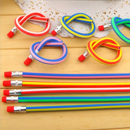 Wholesale Baby Kids Girls Boys Colorful Magic Bendy Flexible Soft Bendable Pencil Pen With Eraser Christmas Birthday Writing Gift