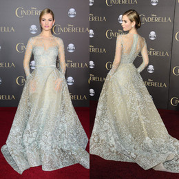 Wholesale Cinderella Lily James In Elie Saab Celebrity Dresses Sheer Jewel Neck Long Sleeves Lace Prom Gowns Red Carpet Appliqued Tulle Evening Dress