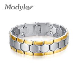 Wholesale Cheap Jewelry Gifts For Men - 18K Gold Plated Men Bracelet Jewelry Energy Health Magnetic Bracelets for Man Charm Balance Bracelets Cheap bracelet jewelry making