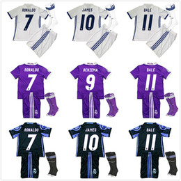 Wholesale 2016 Kids Real Madrid Full Sets Youth Soccer Jerseys James Serigo Ramos Bale Kroos Ronaldo Soccer Uniform Football Kits Boys With Socks