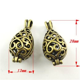 Wholesale 6PCS Antique style bronze tone brass hollow vase box pendant charm jewelry making