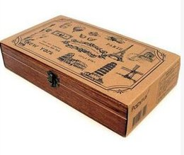 Wholesale 20 sets New Creative Antique Memories Wooden Stamp Set DIY Stamp DIY Funny Work Wooden Box set