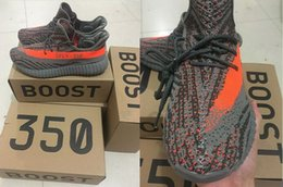 Wholesale 350 Boost V2 Kanye West Season SPLY Orange Streaked Sneakers Black White Stripe Season Boost Discount sale For Men and Women