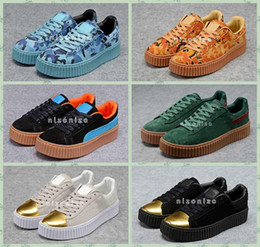 Wholesale Creepers Sneakers - 2016 Rihanna x Suede Women And Mens Rihannas Shoes Sneakers Creeper Camo Black Gold Tiple White Running Shoes Size 36-44