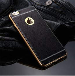 wholesale Vintage PU Leather Flexible TPU Case for iphone 7 7plus Fashion Luxury Protective Phone Cover Shell Skin Gold Frame
