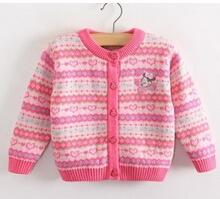 Baby girl cardigan sweater cotton double-layer knitted winter sweater jacket printed mini button shape sweater coat pink color