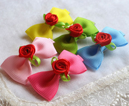 The new pet dog hair accessories wholesale Teddy general hairpin flower head hair bow clip 30pcs