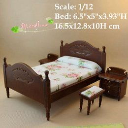 Wholesale 1 scale Dollhouse Miniatures Room Set Wood Double Bed Night Table Drestsing Stool pieces