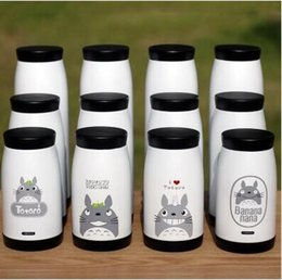 Wholesale Stainless Steel Thermos Free Shipping - Cartoon totoro cup water vacuum stainless steel iopened students mug cup Miyazaki Thermoses drinkware peripheral cartoon cup free shipping