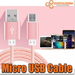 Wholesale for Samsung s7 Micro USB Cable Nylon Braided c5ft M Cable High Speed USB A Male to Micro B Aluminum Shell Connectors