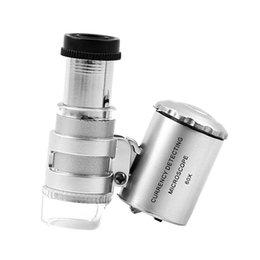 Wholesale 60X Jewelers Loupe Magnifier Mini Microscope Magnifying Pocket with LED UV Light Pc FG10313