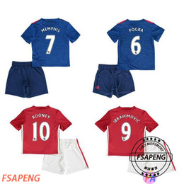 Wholesale Mixed buy Top Quality kids Short sleeve suit MancHester soccer Jerseys home away UnITED Ibrahimovic POGBA