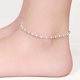 Women Classic Trendy Beads 925 Sterling Silver Anklets Brand New Fashion Jewelry Exquisite Anklets Party Nice Gift 12Pcs Lot Free Shipping