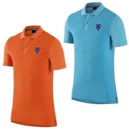 Wholesale top thai quality the Dutch national team shirt Polo Shirts Paul orange blue short sleeved shirt casual sportswear