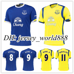 Wholesale Top Thai Quality Everton home blue soccer jersey LUKAKU MIRALLAS BAINES NAISMITH OVIEDO KONE football uniform away white shirt