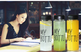 Newest Fashion My Bottle 4 style package Health Plastic bottle 500ml Fruit Lemon Juice Water bottle Tour Outdoor Cup With Bag