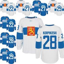 Wholesale Men s Team Finland Ville Pokka Joonas Donskoi Lauri Korpikoski Patrik Laine Authentic Blue Away World Cup of Hockey M XL
