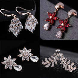 Discount DHL& Wholesale 60pcs lot Quality 18KGP Rose Gold Earrings Fashion Crystal CZ Earrings CZ Crystal Pearl Alloy 150816-4