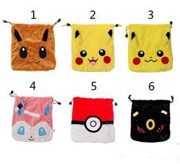 Wholesale Poke Pikachu go drawstring bags style new children Cartoon Pikachu Jeni turtle Sylveon Poke Ball cotton gift bag