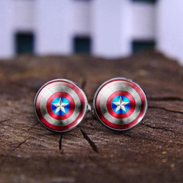 Wholesale 2016 Clothing For Men cuff shirt buttons Captain America Photo Glass Cabochon Cuff buttons To High Quality Mens Cufflinks Hot Buttons