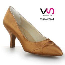 Tan Couleur Belle Plaine pompe de conception WR-624-4 Femmes Suede Pig Salsa Skin Danse Shoe Tango Dance With 8cm Hauteur du talon chaussure confortable à partir de chaussures simples talons fabricateur
