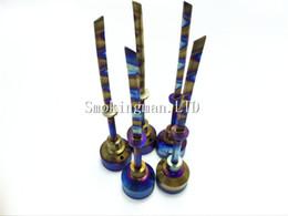 Wholesale MOQ Rainbow Titanium Carb Cap Tool Domeless Titanium Nail Titanium Ti Nail mm mm Titanium sword Dab Tool with Carb Cap Dabber
