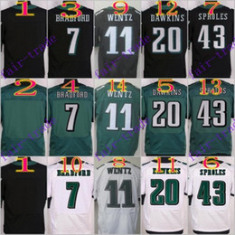 Wholesale NIK Elite Football Stitched Eagles Blank Bradford Carson Wentz Dawkins Sproles White Green Black Jerseys Mix Order