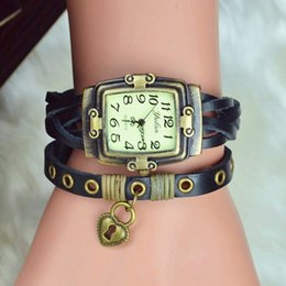 Fashion Lock Tag Antique Womens Dress Watches Multilayer Long Band Vintage Bracelet watch Love Heart pattern Leather Handmade braided Watch